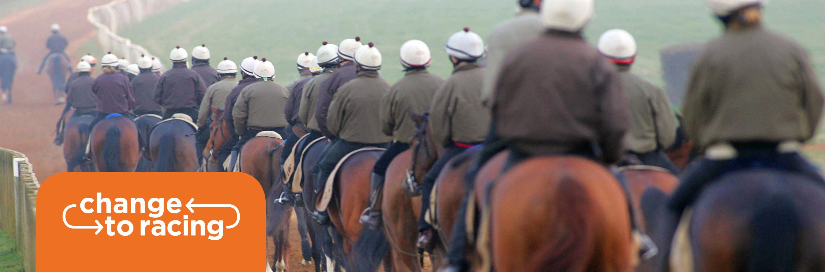 British Grooms Association members horse racing grooms riding out